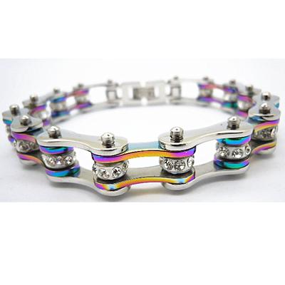 Rhinestone Rainbow Bike Chain Bracelet
