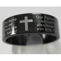 Black Stainless Steel Lord's Prayer Ring