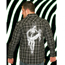 Freakshow Men's button up black/grey plaid shirt