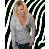 Women's Gray Long Sleeve Laser Cut