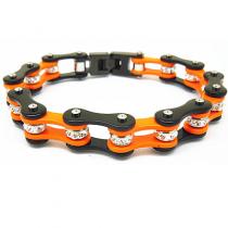 Rhinestone Orange Bike Chain Bracelet