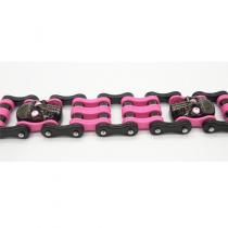 Pink Skull Bike Chain Bracelet