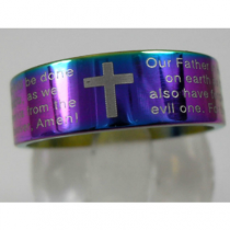 Rainbow Stainless Steel Lord's Prayer Ring