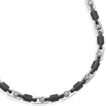 "8"" Alternating Stainless Steel and Textured Barrel Link Bracelet"
